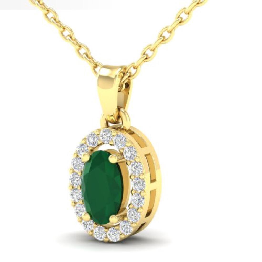 0.51 CTW Emerald & Micro Pave VS/SI Diamond Necklace - 2