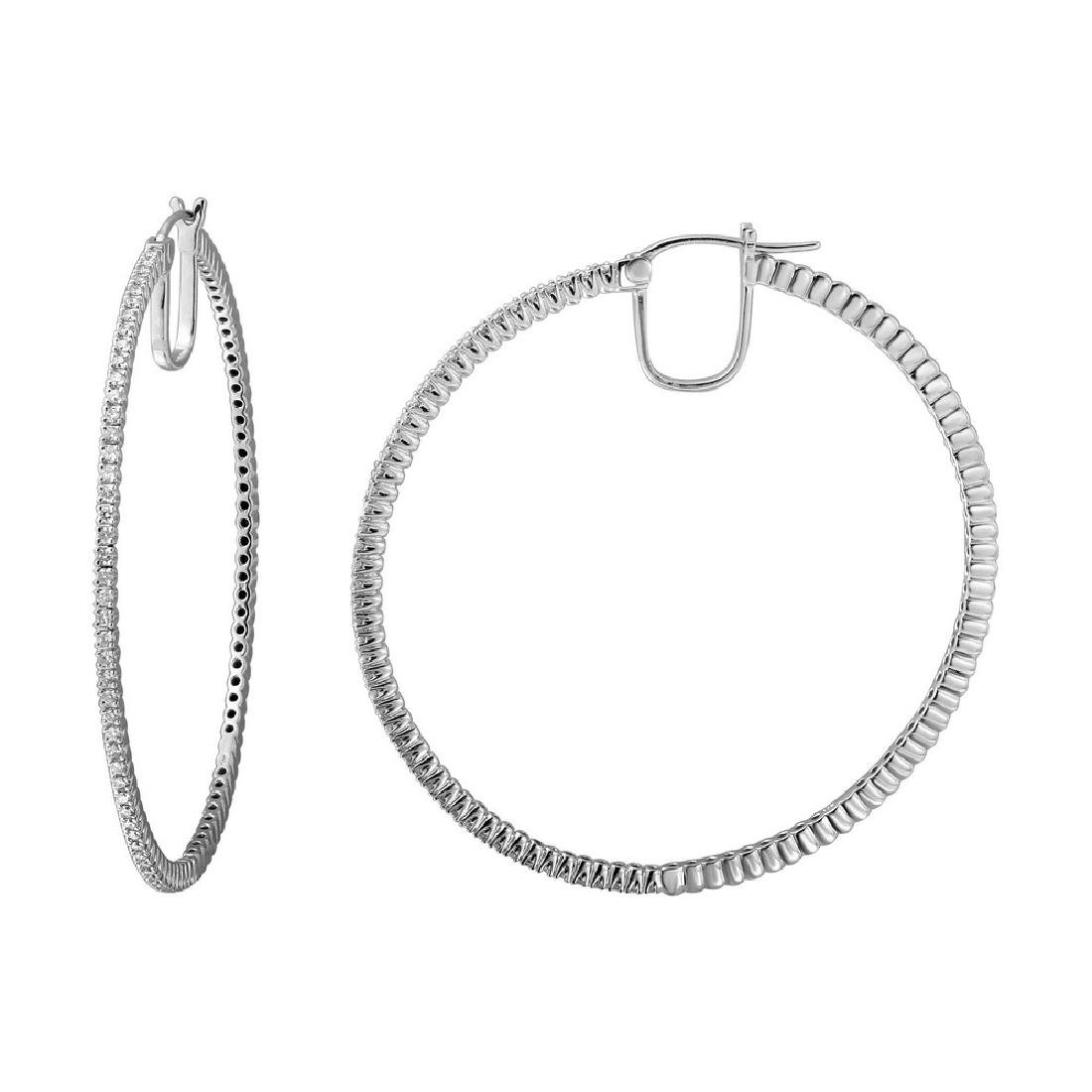 0.81CTW Diamond Hoop Earring 14K White Gold