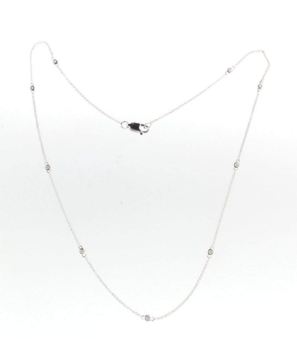 0.18CTW Diamond Chain Necklace 14K White Gold