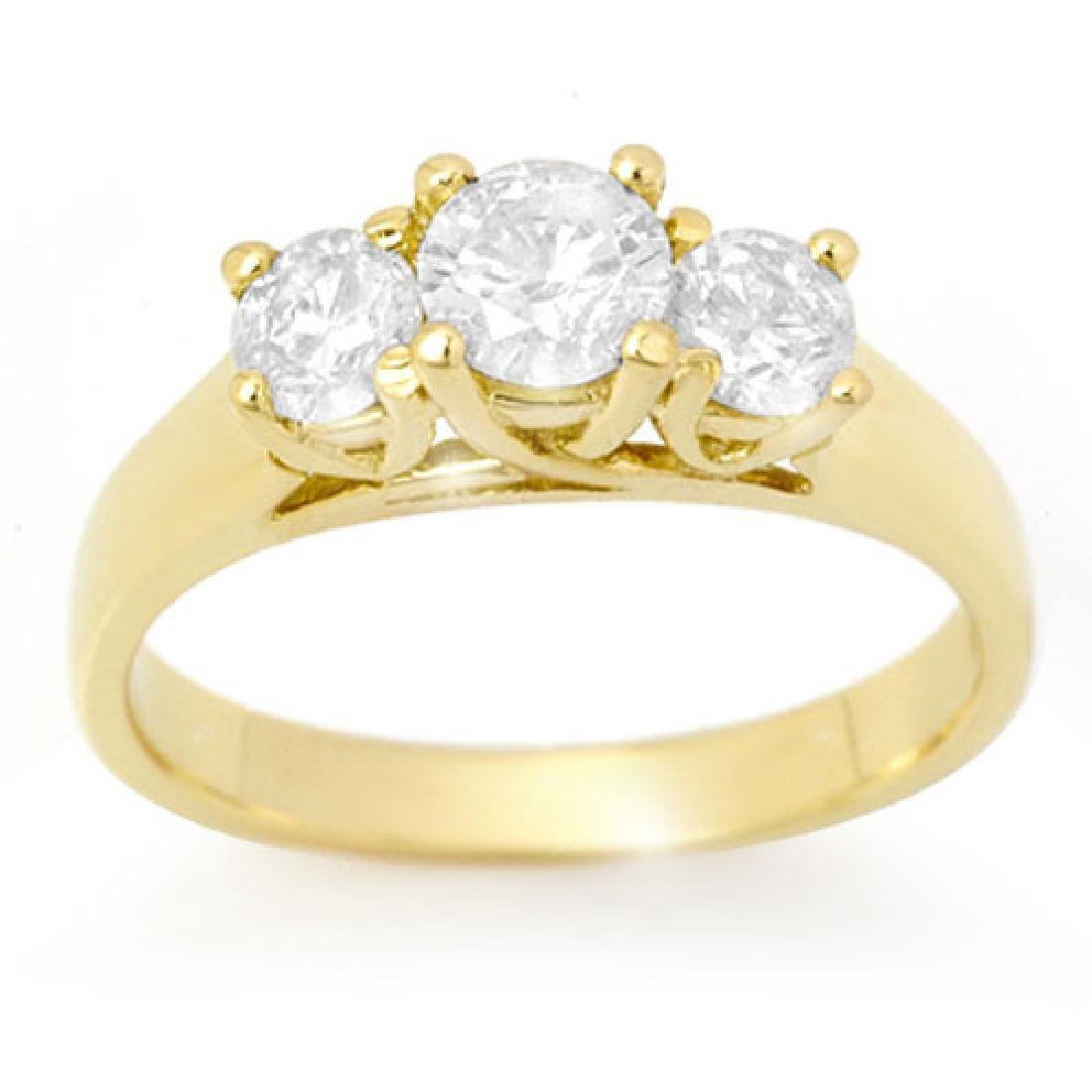 0.75 CTW VS/SI Diamond 3 Stone Ring 18K Yellow Gold - 2