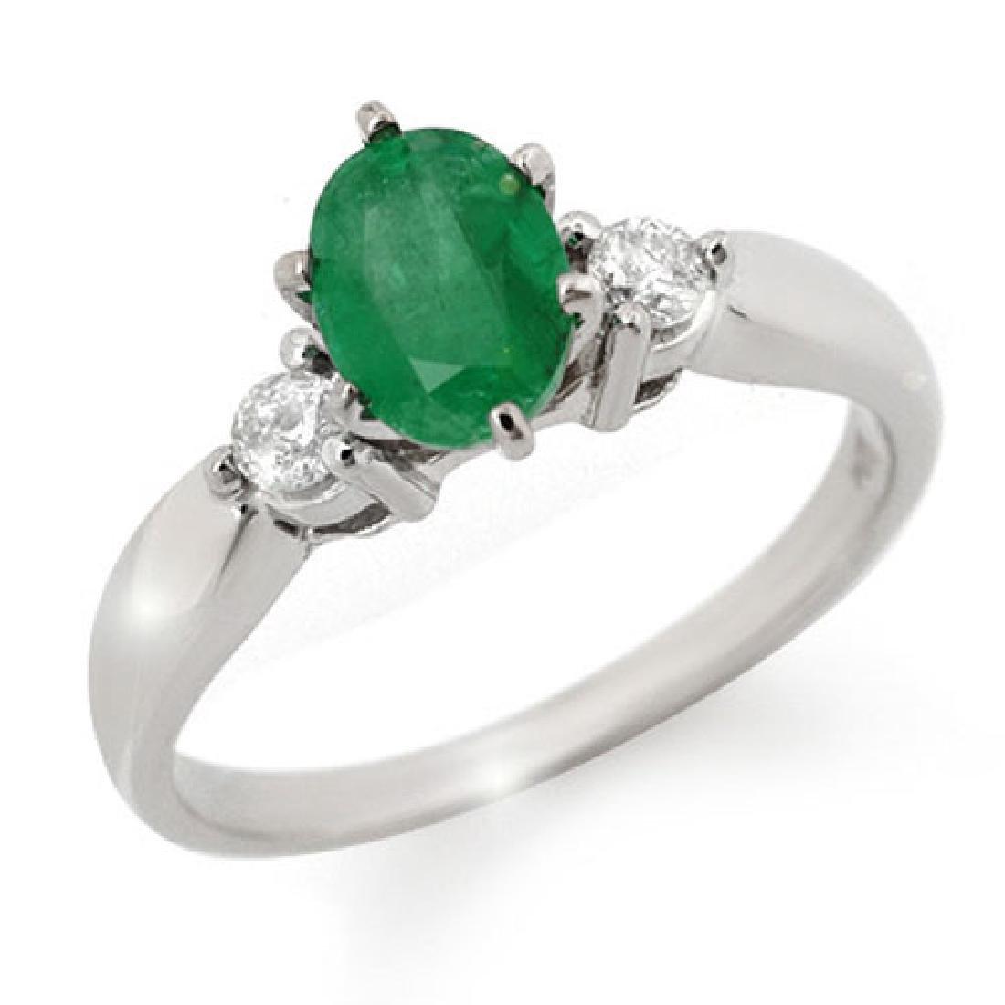 1.20 CTW Emerald & Diamond Ring 18K White Gold - 2