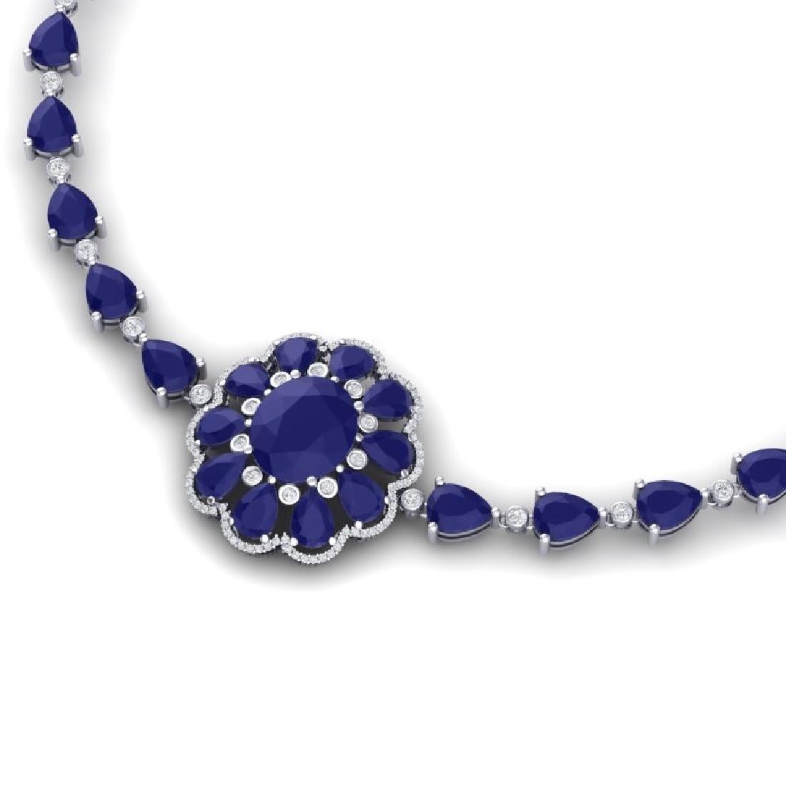 78.98 CTW Royalty Sapphire & VS Diamond Necklace 18K