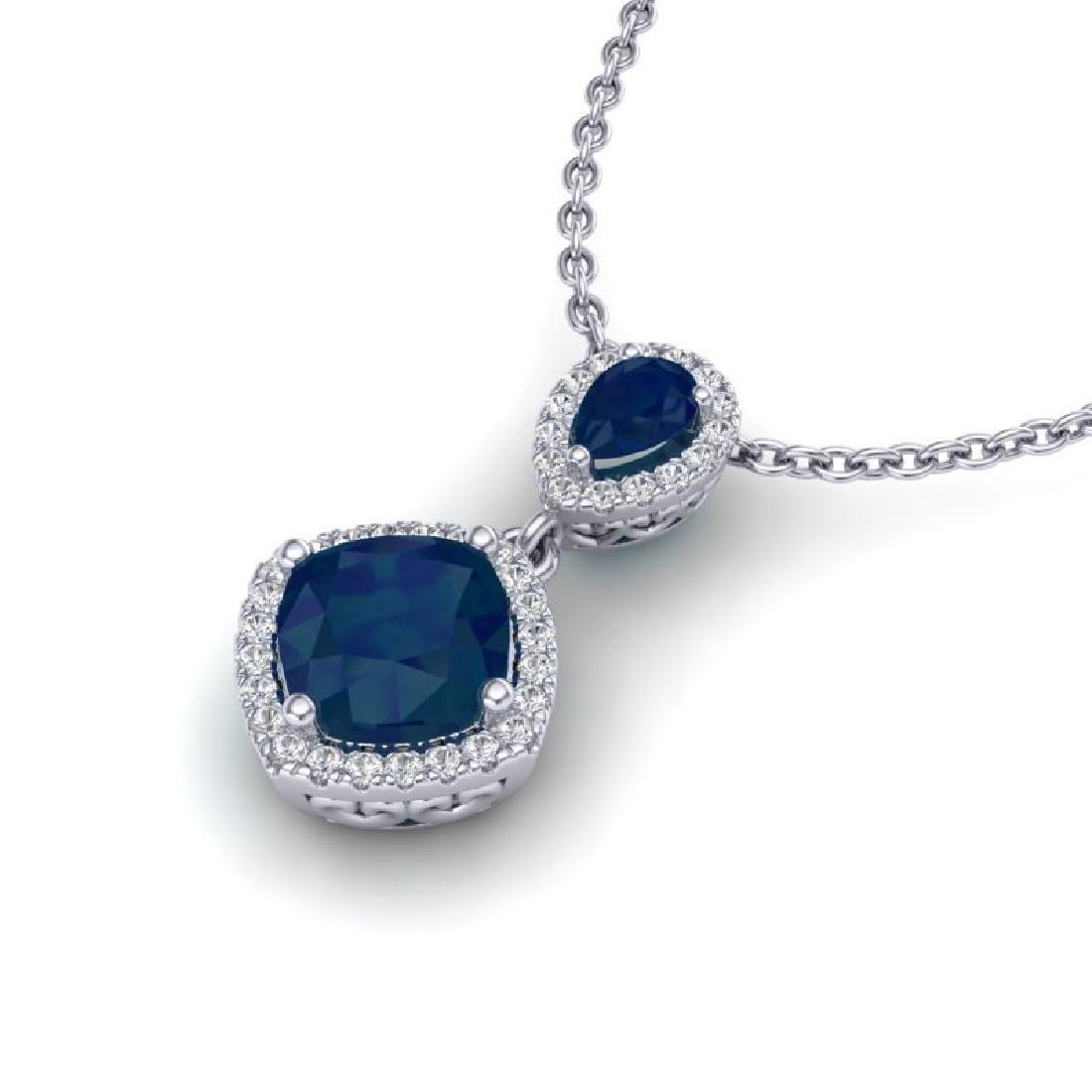 3.50 CTW Sapphire & Micro VS/SI Diamond Necklace - 2