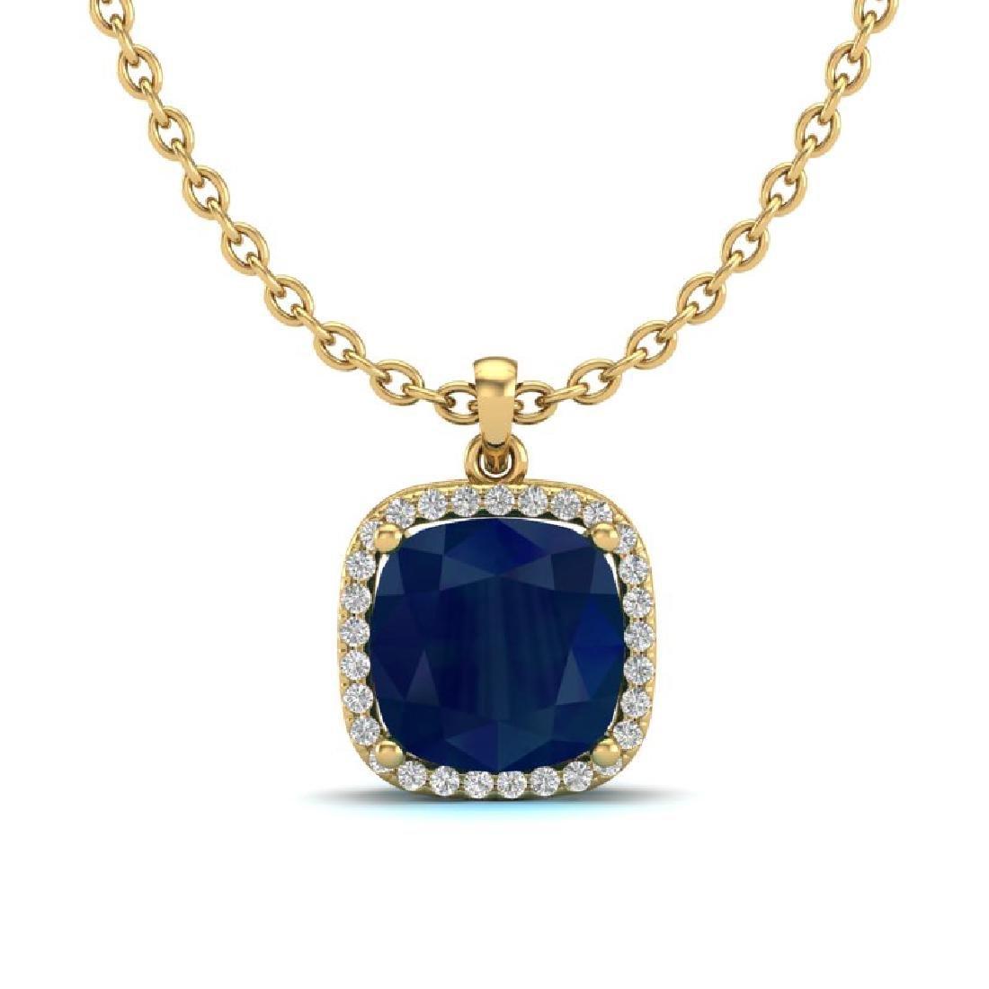 6 CTW Sapphire & Micro Pave Halo VS/SI Diamond Necklace - 2