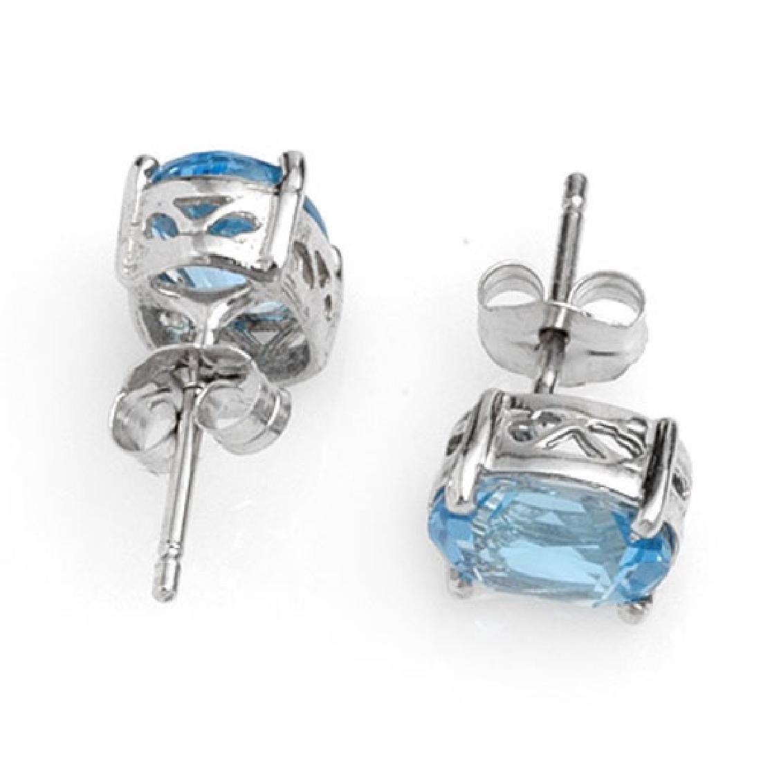 2.0 CTW Blue Topaz Earrings 18K White Gold - 2