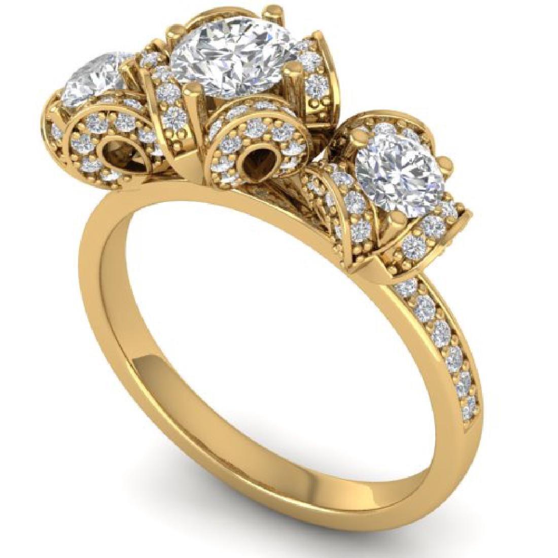 2 CTW VS/SI Diamond Art Deco 3 Stone Ring Band 18K