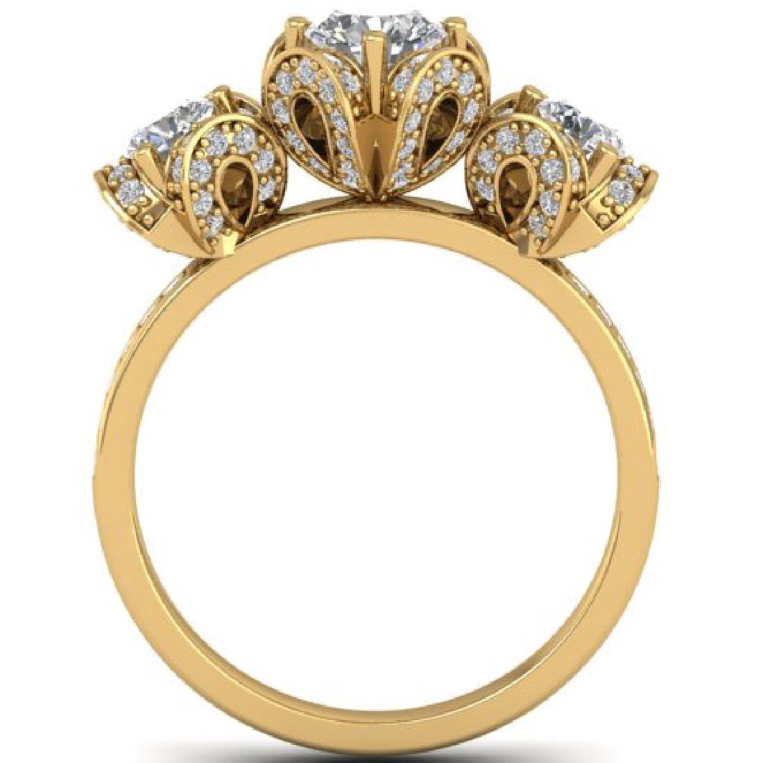 2 CTW VS/SI Diamond Art Deco 3 Stone Ring Band 18K - 2