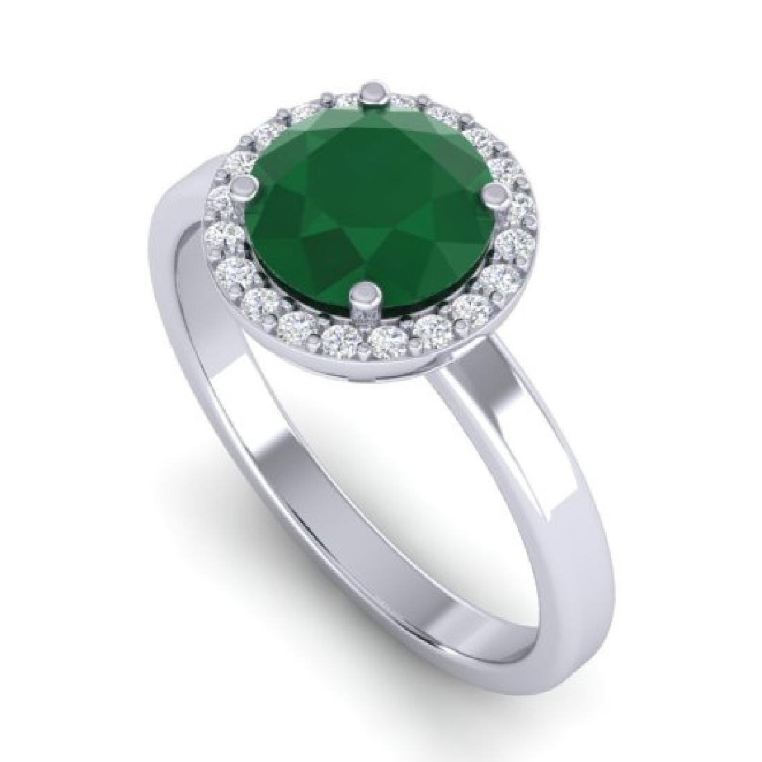 2 CTW Emerald & Halo VS/SI Diamond Micro Pave Ring 18K - 2