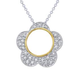 0.19 CTW White Round Diamond Slider with Chain 14K Two