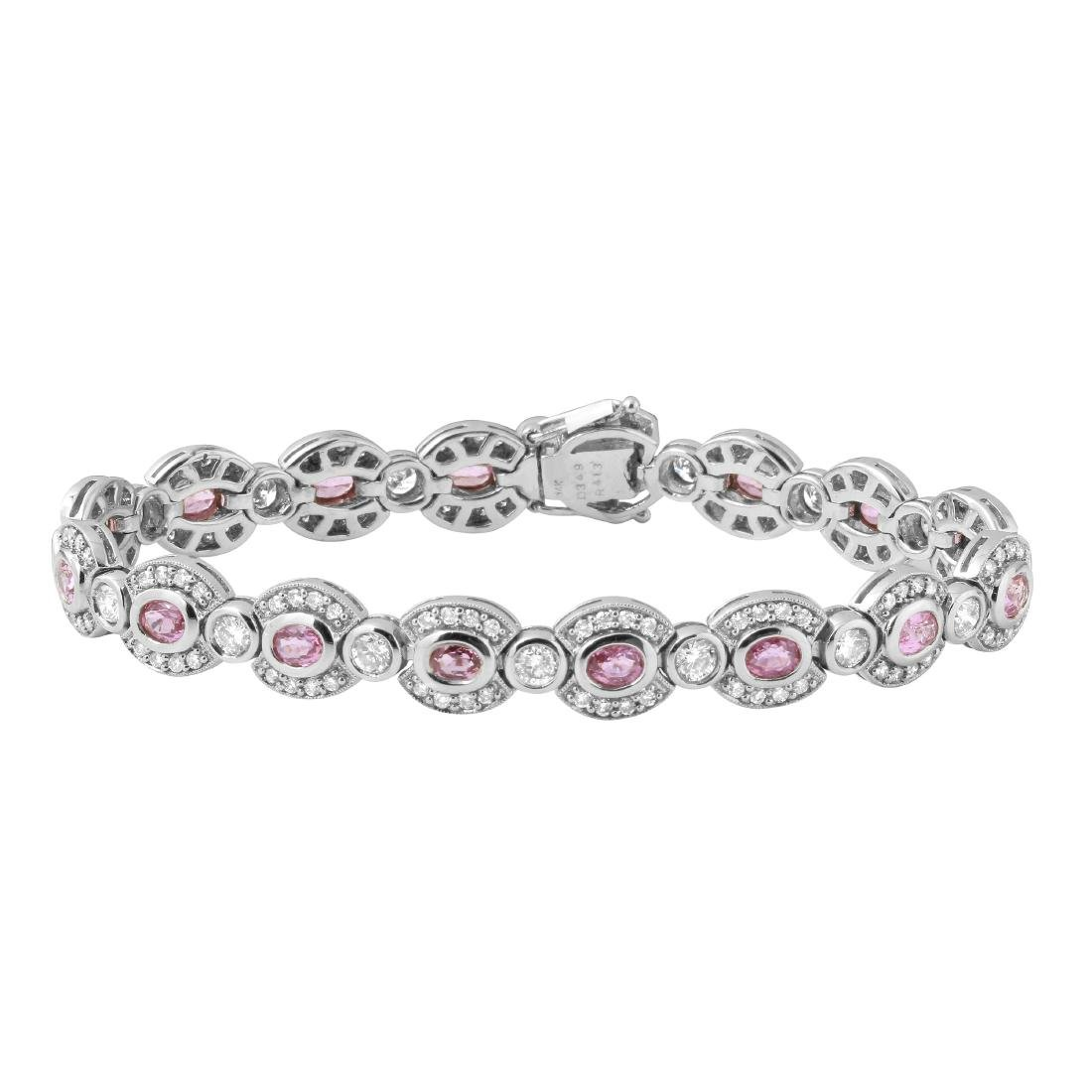 7.62 CTW Pink Sapphire & White Round Diamond Bracelet