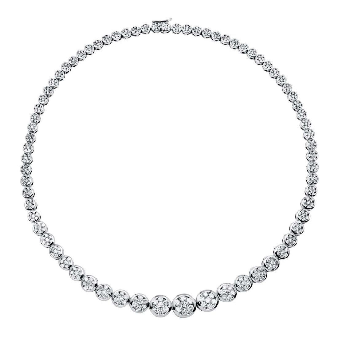 13 CTW White Round Diamond Necklace 18K White Gold