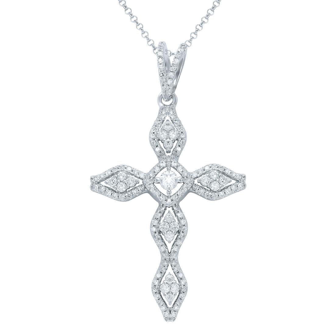 0.65 CTW White Round Diamond Pendant 14K White Gold