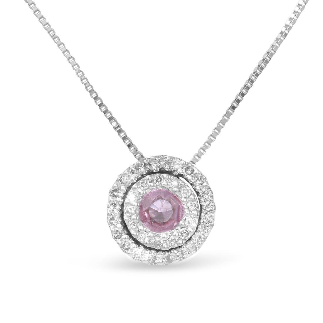 0.41 CTW Pink Sapphire & White Round Diamond Slider