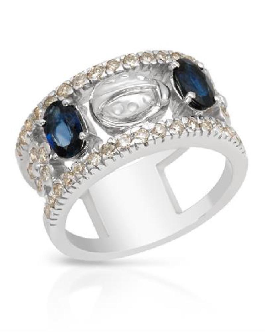 1.76 CTW Sapphire & White Round Diamond Ring 14K White
