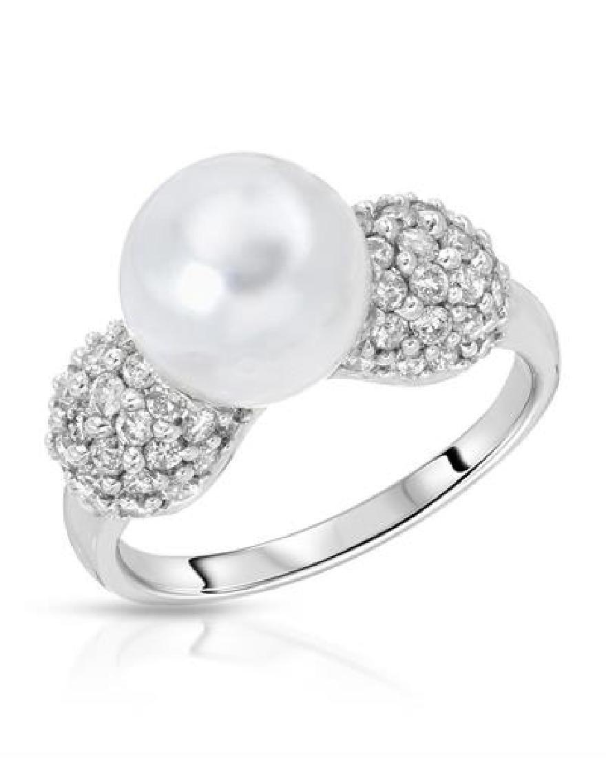6.57 CTW Pearl & White Round Diamond Ring 14K White
