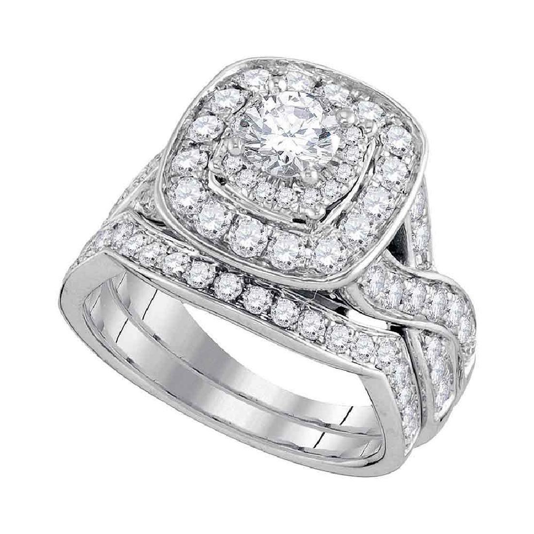 1.97 CTW Diamond Halo Bridal Engagement Ring 14KT White