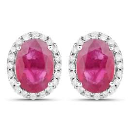 2.06 CTW Ruby & Diamond Earrings 14K White Gold