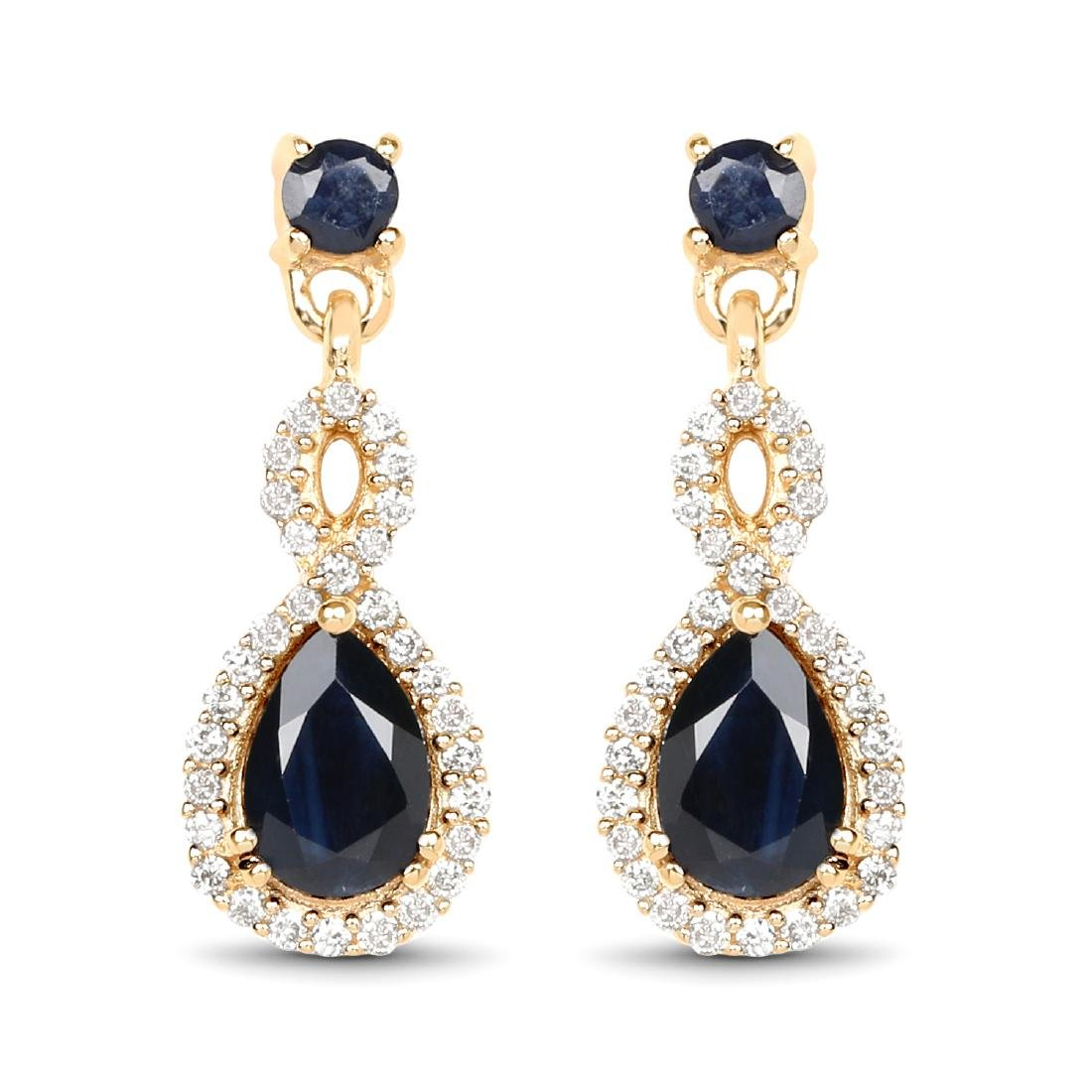 1.18 CTW Blue Sapphire & Diamond Earrings 14K Yellow
