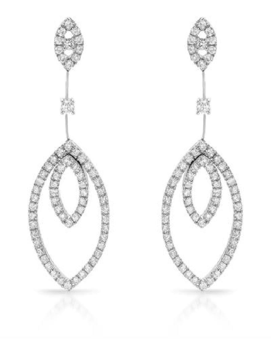 2.28 CTW White Round Diamond Earring 18K White Gold