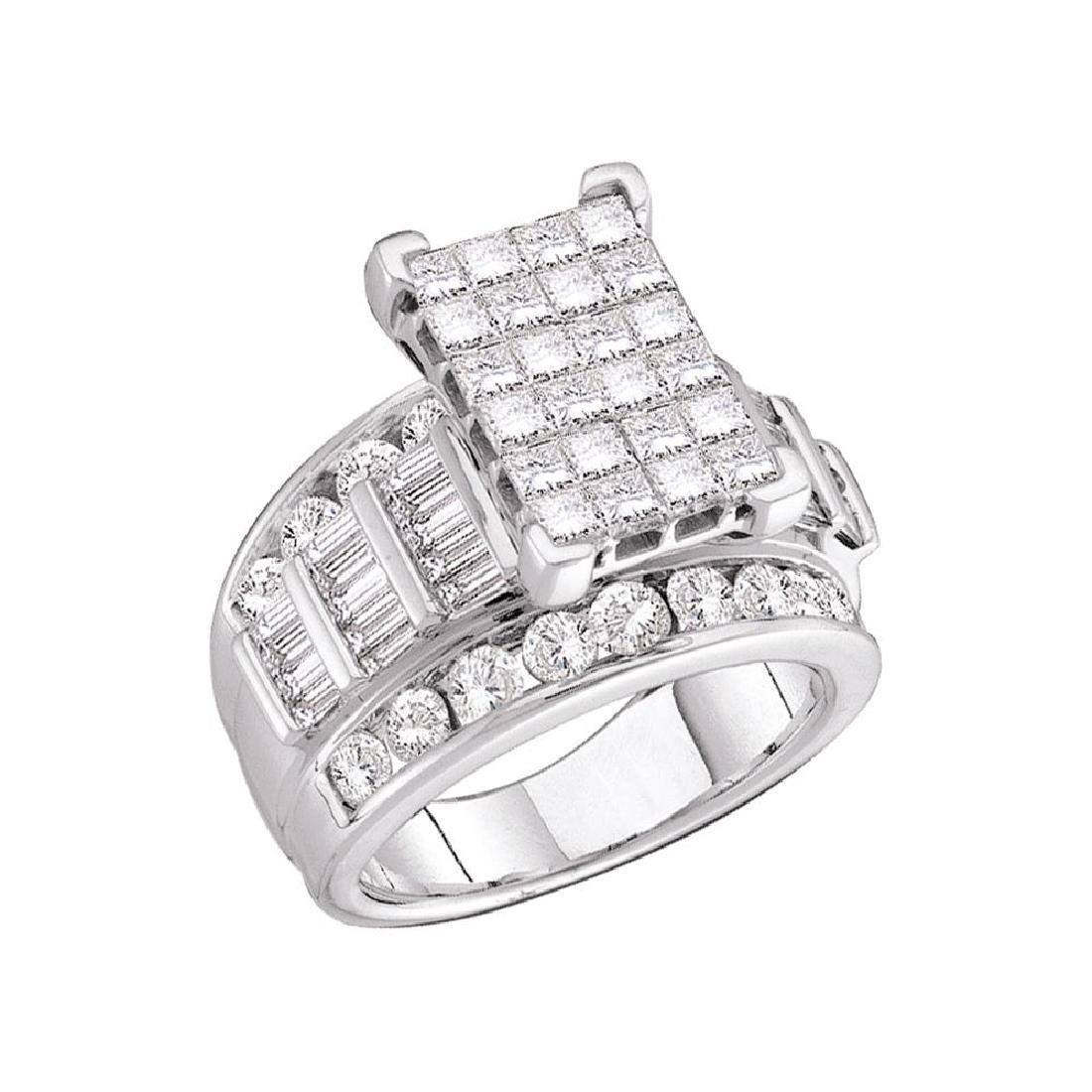 3 CTW Princess Diamond Cluster Bridal Engagement Ring