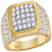 2 CTW Mens Diamond Square Cluster Ring 14KT Yellow Gold