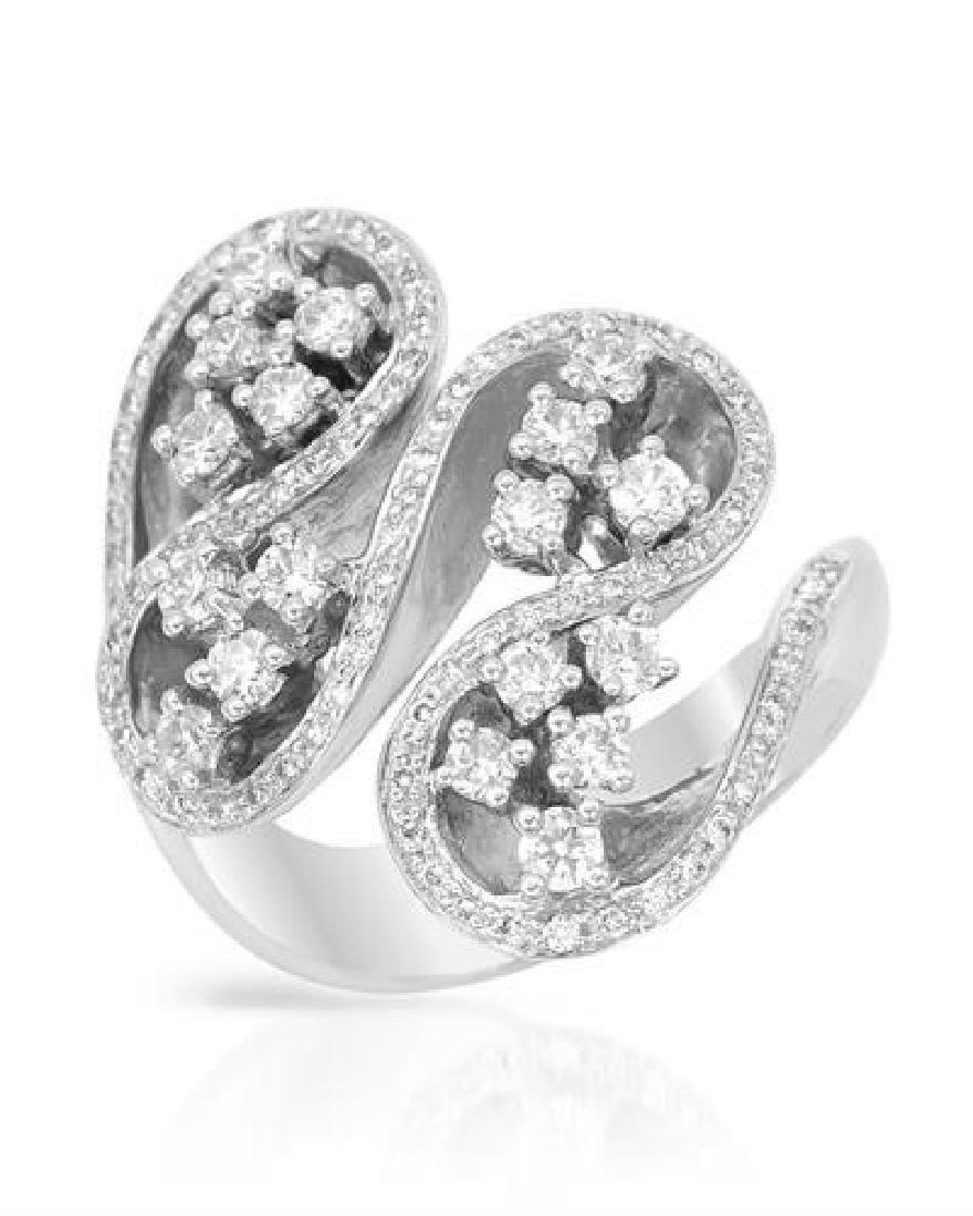 1.02 CTW White Round Diamond Ring 18K White Gold