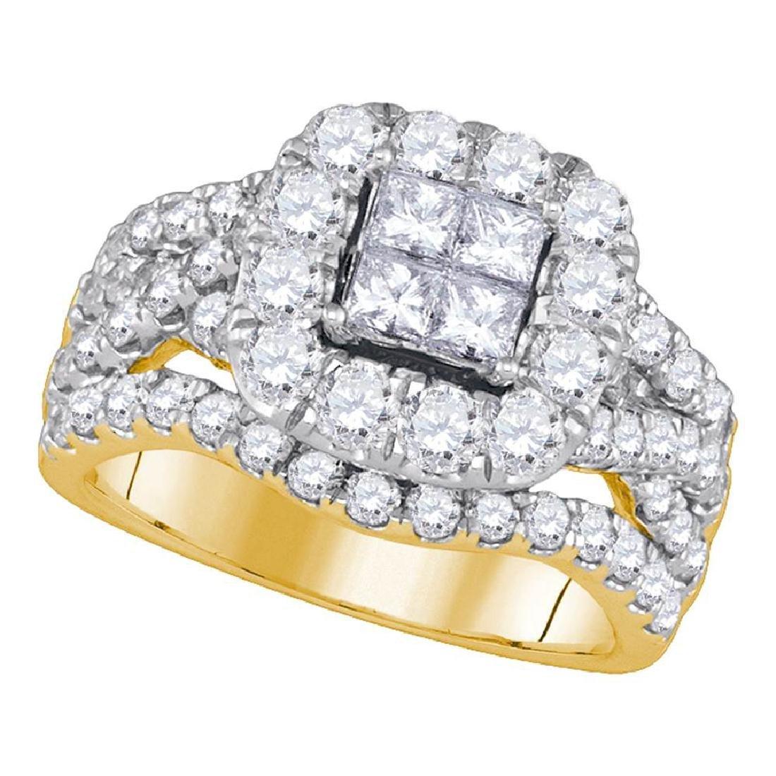 2.5 CTW Princess Diamond Cluster Halo Bridal Engagement