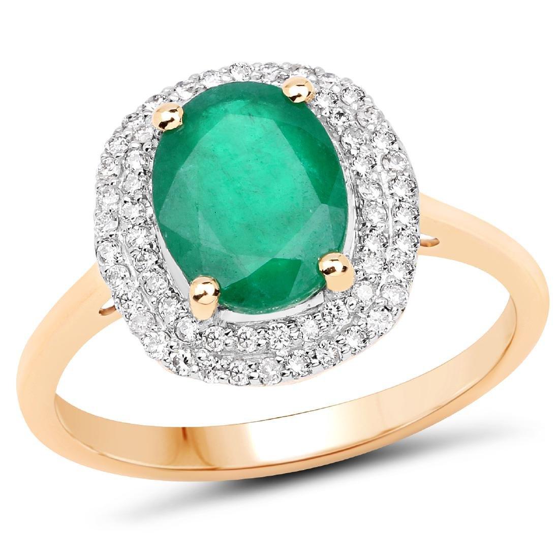 1.92 CTW Emerald & Diamond Ring 14K Yellow Gold