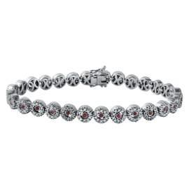 2.48 CTW Ruby & White Round Diamond Bracelet 14K White
