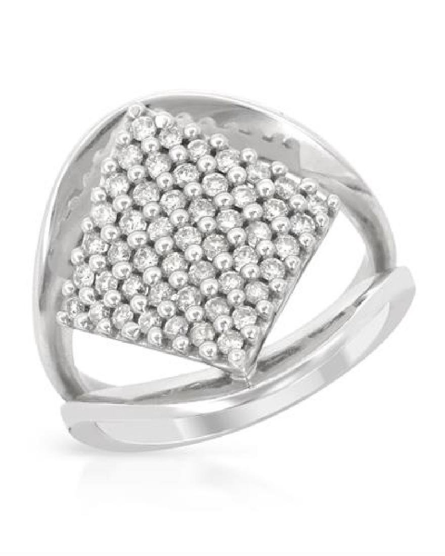 0.73 CTW White Round Diamond Ring 18K White Gold