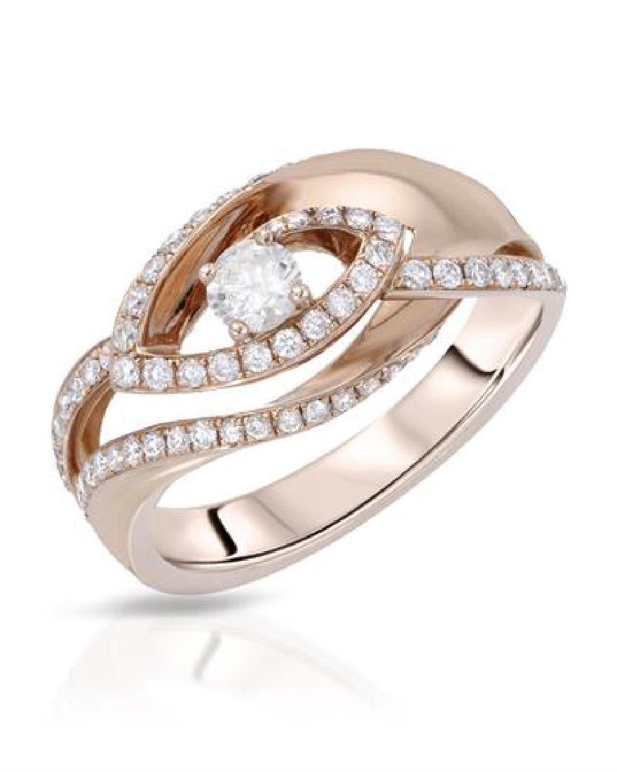 0.55 CTW White Round Diamond Ring 14K Rose Gold