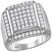 2 CTW Mens Diamond Square Framed Cluster Ring 10KT