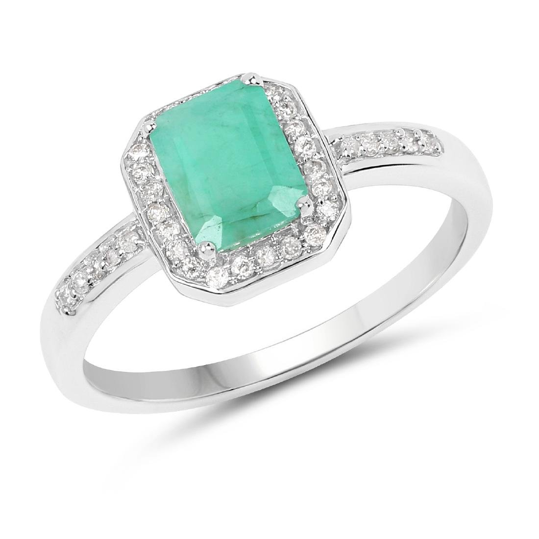 1.08 CTW Emerald & Diamond Ring 10K White Gold