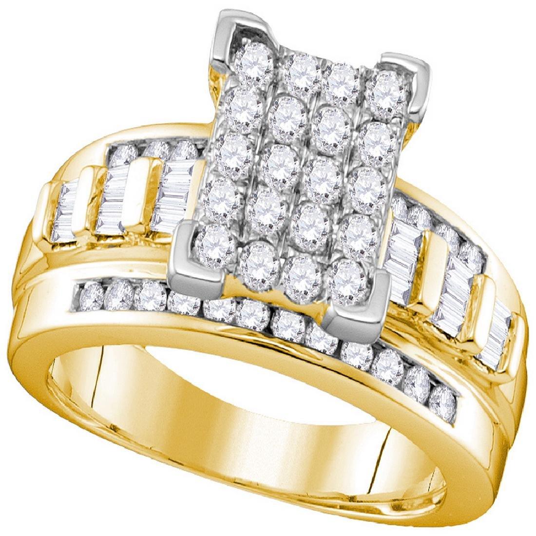 2 CTW Diamond Cluster Bridal Engagement Ring 10KT