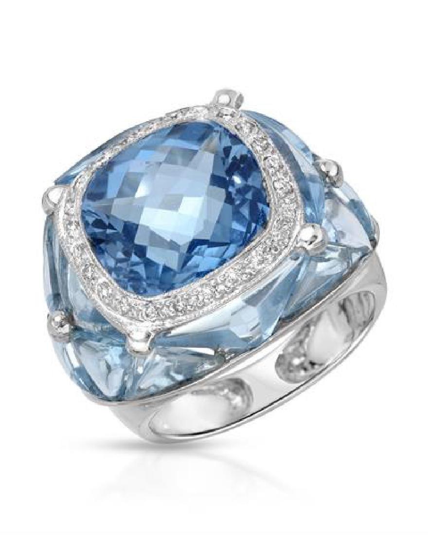 16.49 CTW Topaz & White Round Diamond Ring 14K White