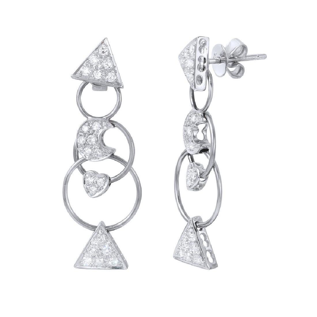 0.8 CTW White Round Diamond Earring 18K White Gold