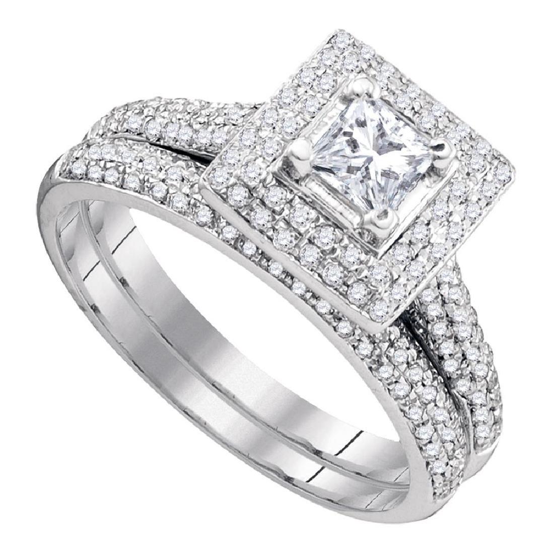 0.33 CTW Diamond Princess Bridal Engagement Ring 14KT