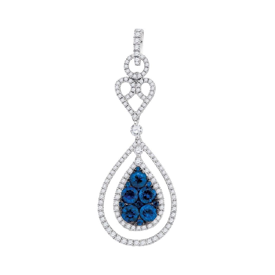 0.82 CTW Blue Sapphire Teardrop Diamond Pendant 14KT