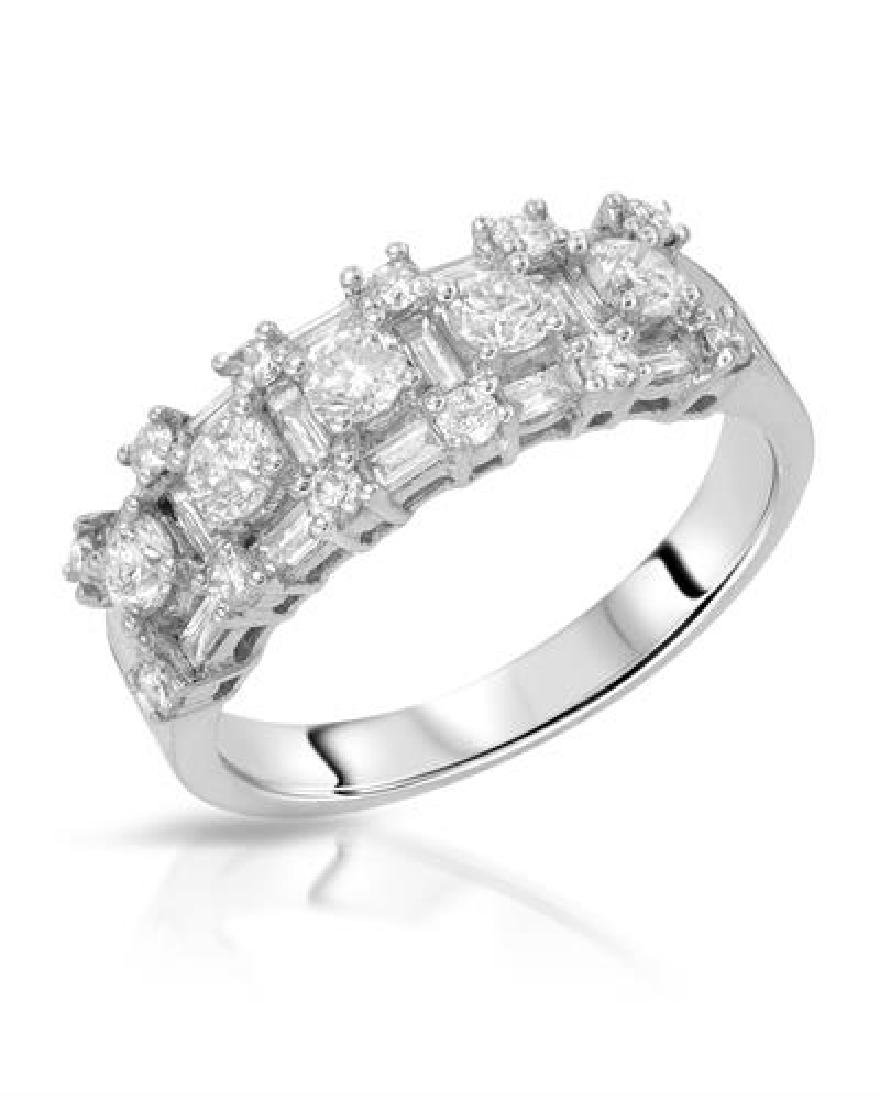 1.16 CTW White Round Diamond & Baguette Band Ring 18K