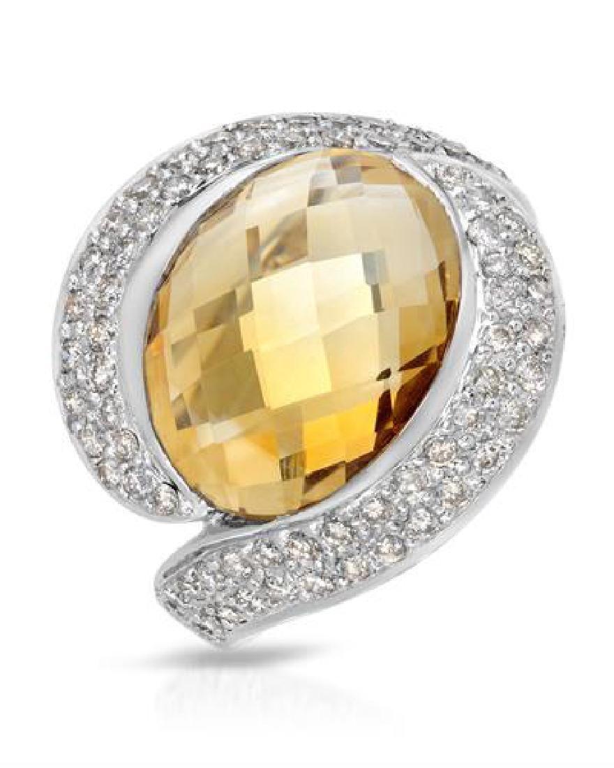 9.94 CTW Citrine & White Round Diamond Ring 14K White