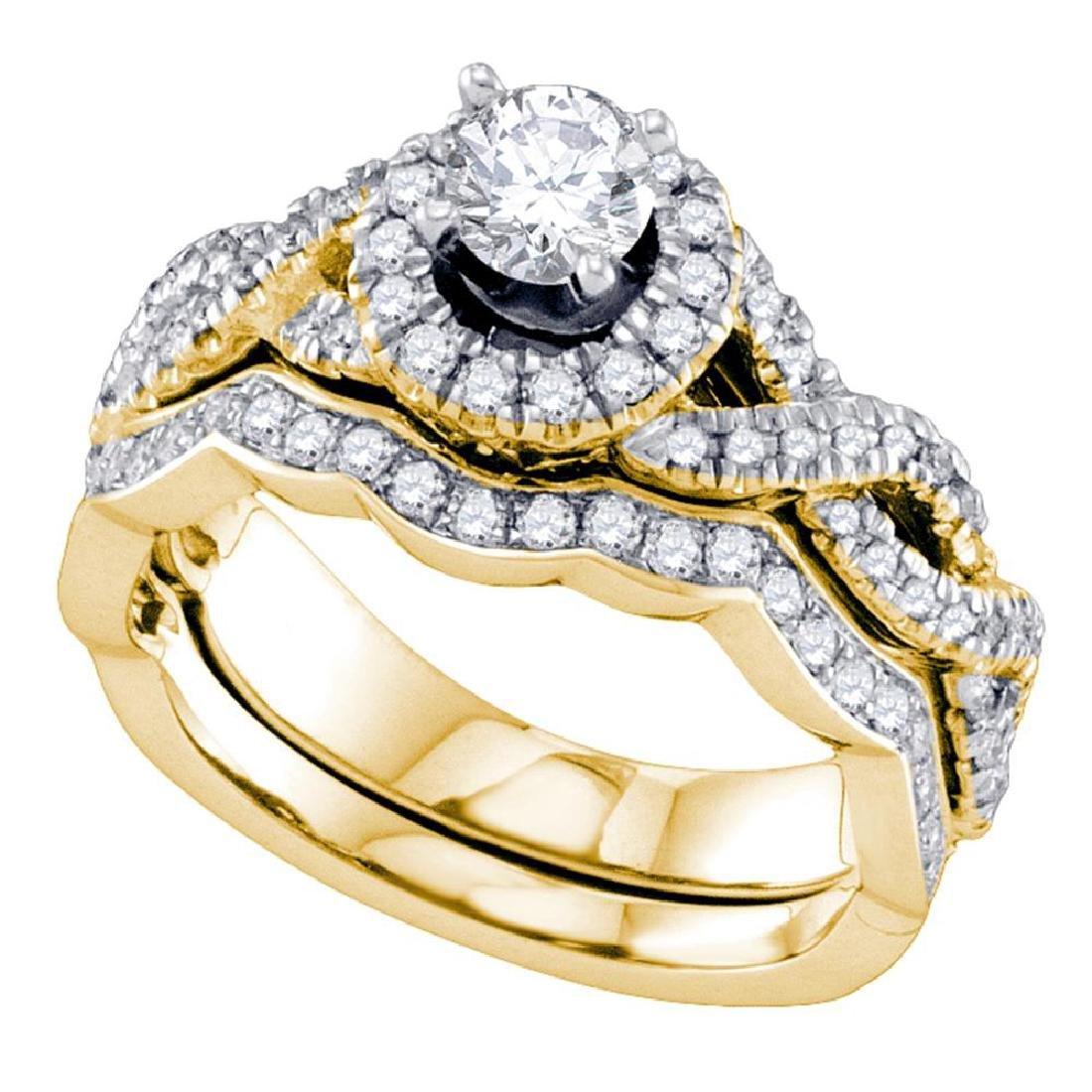 1 CTW Diamond Halo Bridal Wedding Engagement Ring 14KT