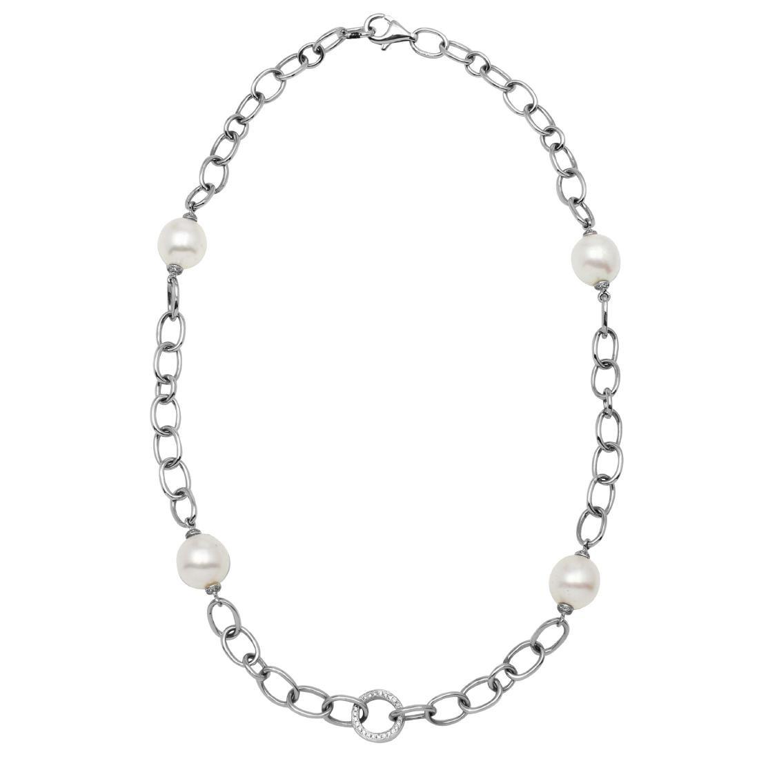37.15 CTW Pearl & White Round Diamond Necklace 14K