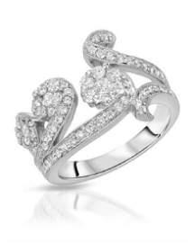 1.04 CTW White Round Diamond Ring 18K White Gold