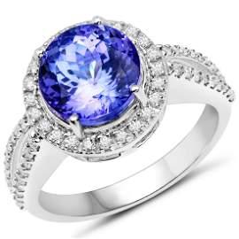 4.54 CTW Tanzanite & Diamond Ring 14K White Gold
