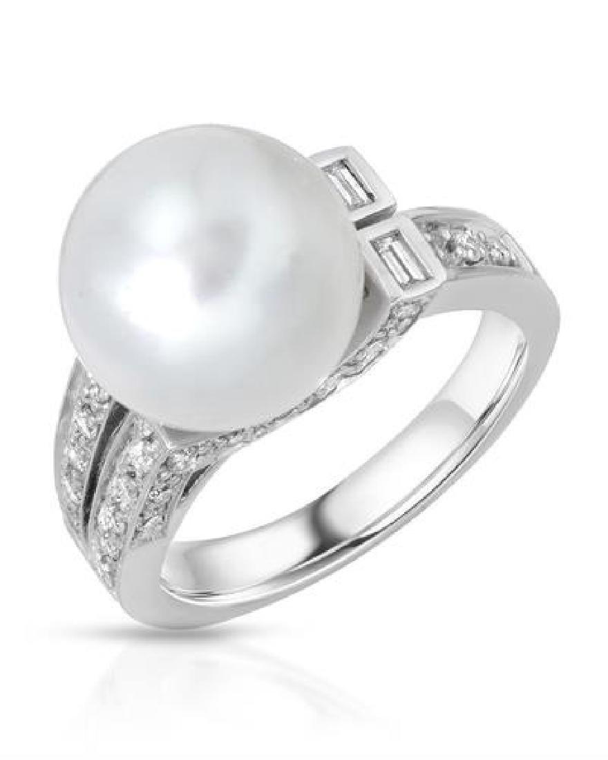 8.13 CTW Pearl & White Round Diamond Ring 18K White