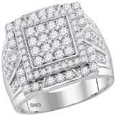 2.25 CTW Mens Diamond Framed Square Cluster Ring 10KT