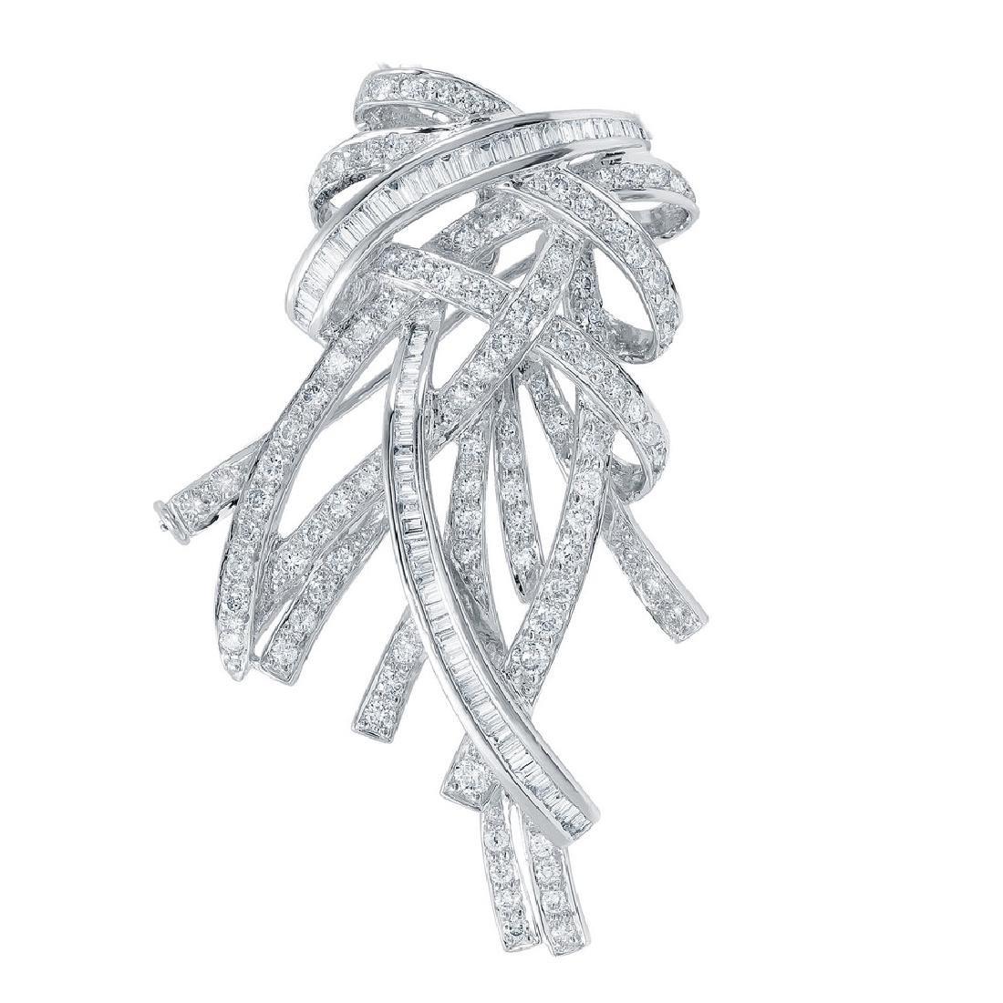 2.98 CTW White Round Diamond & Baguette Brooch 18K