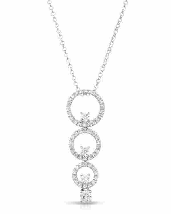 0.62 CTW White Round Diamond Slider with Chain 18K