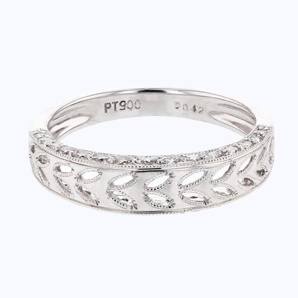 Genuine 0.42 CTW White Diamond Platinum Ring