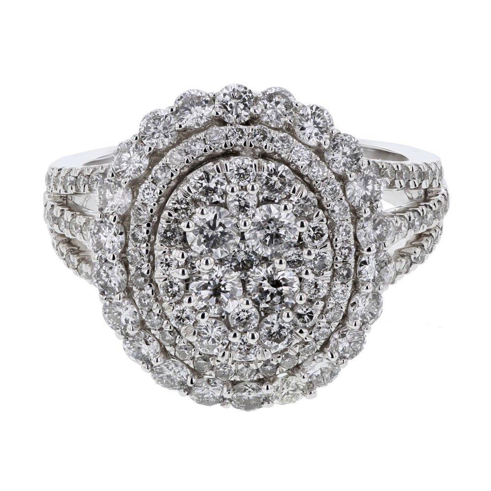 Genuine 1.98 CTW White Diamond 14K White Gold Ring